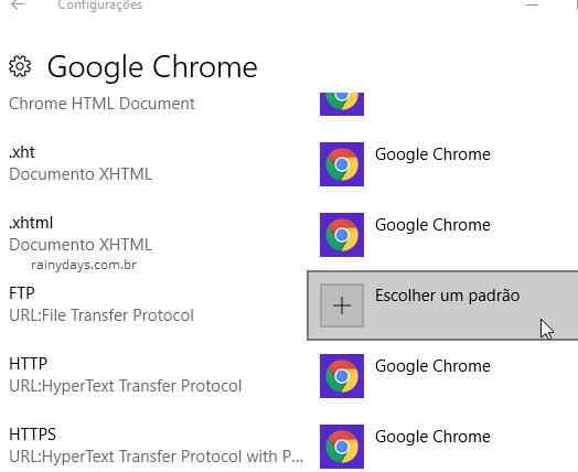 Escolher um padrão configurações Windows 10