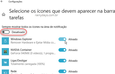 Esconder ícones da área de notificação do Windows