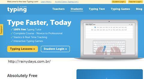 Página Typing, como excluir conta do Typing.com
