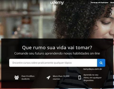 Página iniciar do Udemy, como excluir conta do Udemy