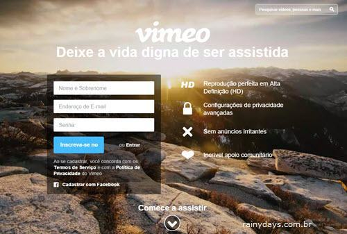 Página de login do Vimeo, como excluir conta do Vimeo
