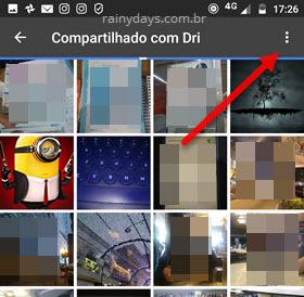 ícone três bolinhas fotos compartilhadas Google Fotos