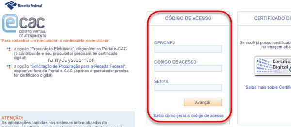 login portal ecac Receita Federal