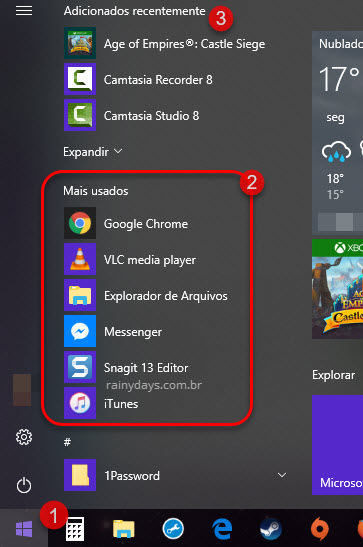 Mais usados e Adicionados recentemente menu Windows 10