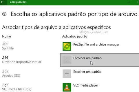Modificar os aplicativos padrão no Windows 10