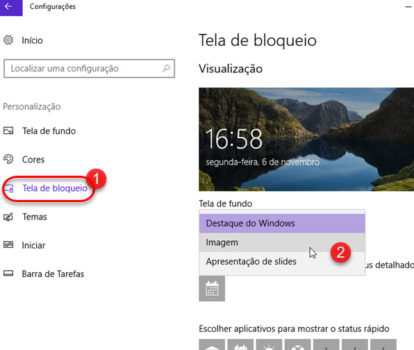 Como mudar a tela de bloqueio do Windows 10