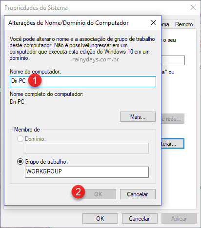 Nome do computador Alterar Windows Sysdm
