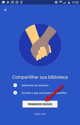 Primeiros passos compartilhar biblioteca Google Fotos
