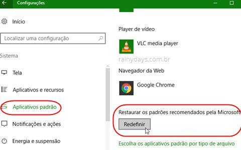 redefinir aplicativos padrão do Windows