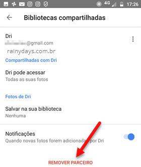 Remover parceiro Biblioteca compartilhada Google Fotos