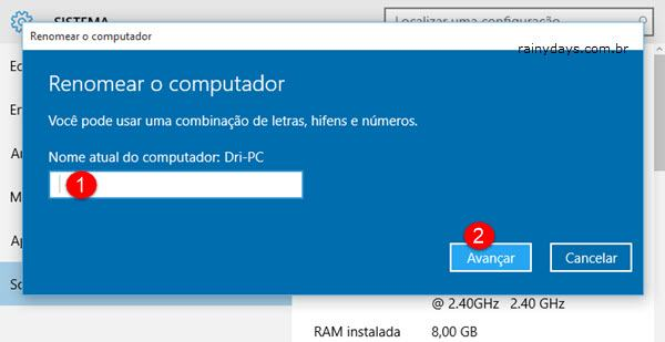 Renomear o Computador no Windows 10