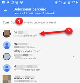 Selecionar parceiro compartilhar Google Fotos
