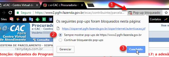 sempre mostrar pop-ups de PGFN Fazenda Gov