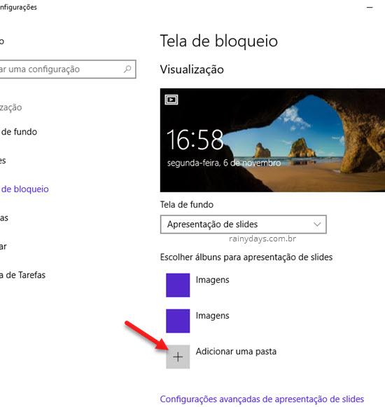 Tela de bloqueio apresentação de slides Windows