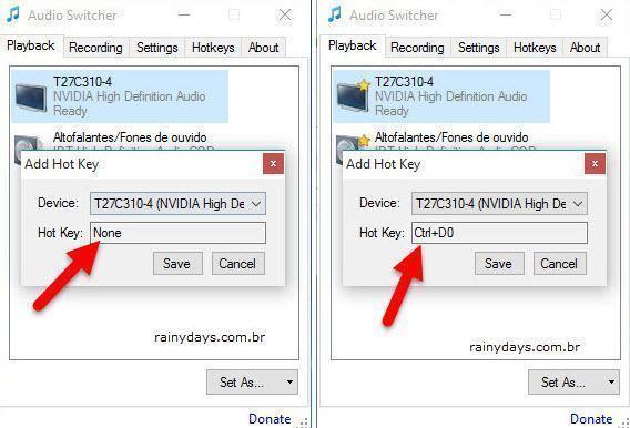 Trocar entre dispositivos de áudio do Windows 3
