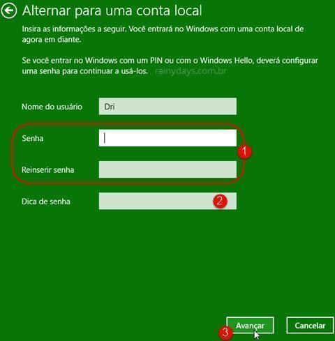 usar conta local no Windows 10