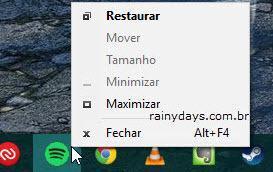 abrindo menu sistema pela barra de tarefas