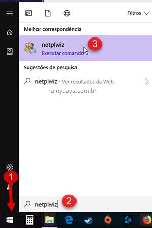 Abrir netplwiz gerenciar contas de usuário Windows