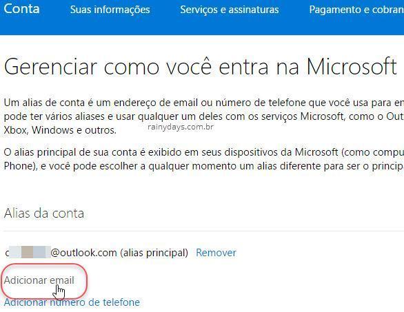 Adicionar email alias na conta Microsoft