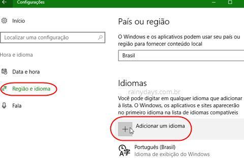 adicionar um idioma no Windows 10