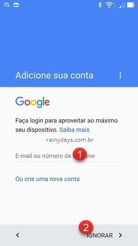 adicione sua conta Google no Android