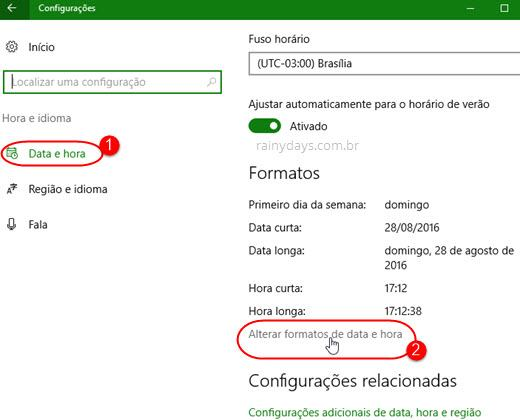 alterar formatos de data e hora Windows 10