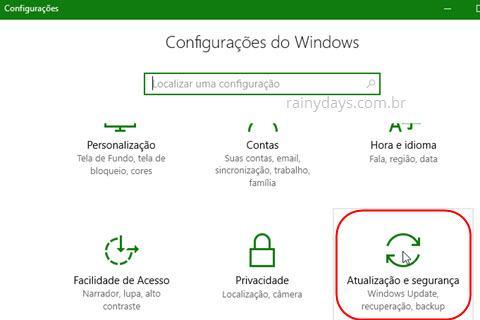 atualização e segurança do Windows 10