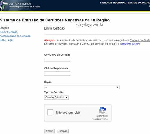 certidão negativa da Justiça Federal 1ª Região