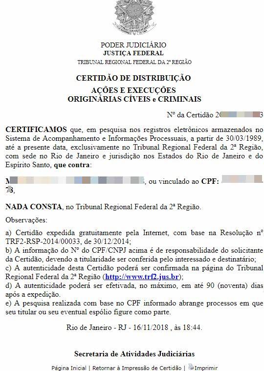 Como tirar certidão negativa da Justiça Federal 2ª Região RJ ES
