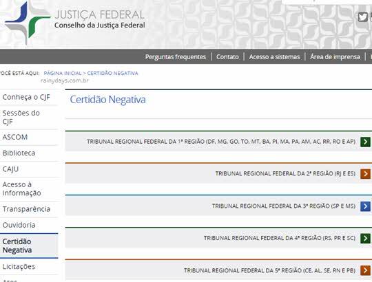 certidão negativa da Justiça Federal regiões