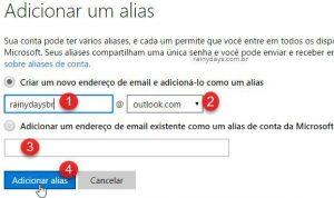 Como criar aliases no Outlook.com