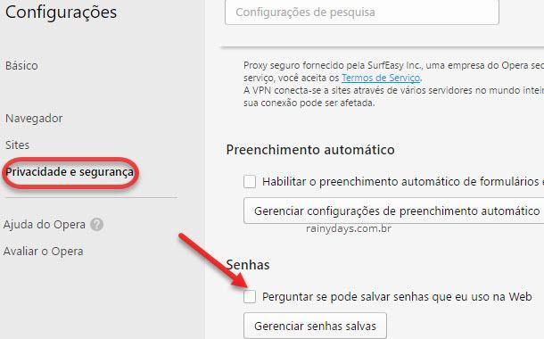 Desativar salvamento de senhas nos navegadores Opera