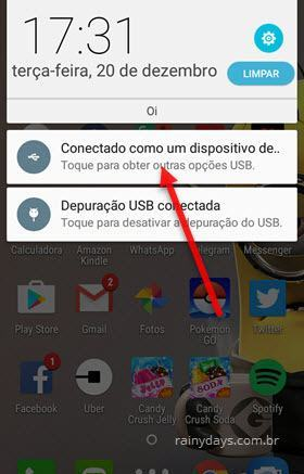 conectado como dispositivo de mídia Android
