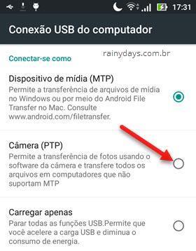conexão USB do PC Câmera PTP Android