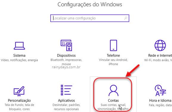 Configurações Contas Windows