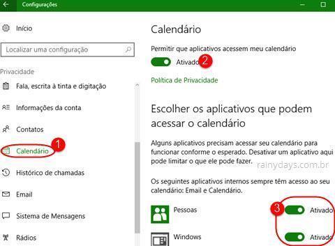 Configurações de Calendário do Windows 10