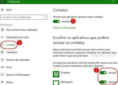 Configurações de Contatos do Windows 10