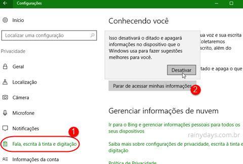 configurações de Fala, escrita e digitação Windows 10