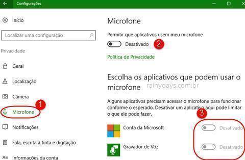 configurações de Microfone no Windows 10
