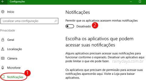 configurações de Notificações do Windows 10