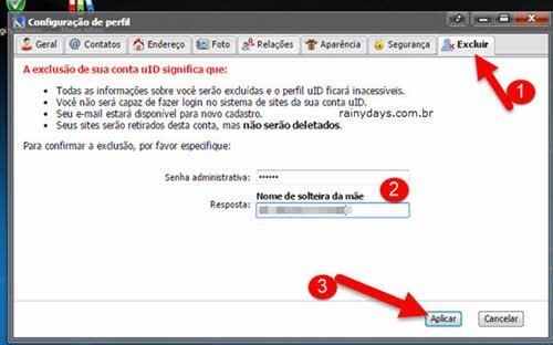 configurações de perfil excluir senha aplicar uID.me
