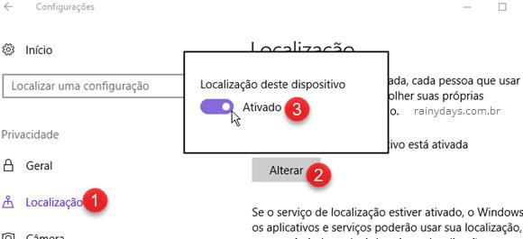 configurações desativar localização Windows