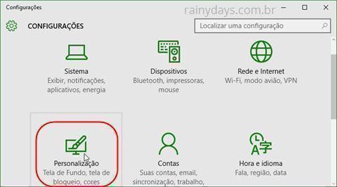 configurações personalização do Windows 10