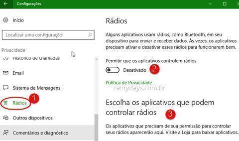 configurações de Rádios do Windows 10