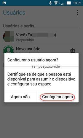 configurar usuário agora ANdroid