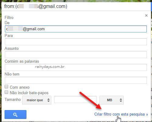 criar filtro com esta pesquisa no Gmail