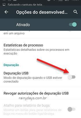 Depuração USB Android