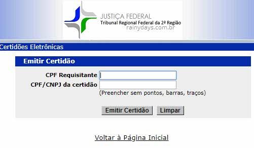 emitir Certidão nada consta Justiça Federal 2ª Região RJ ES