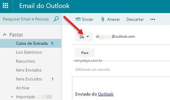 enviar email usando alias no Outlook