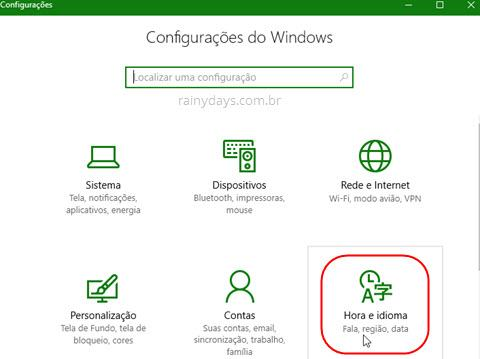 Hora e idioma Windows 10